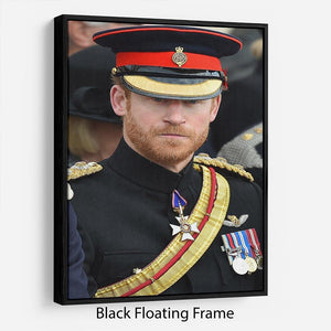 Prince Harry in uniform during ceremonies in Staffordshire Floating Frame Canvas