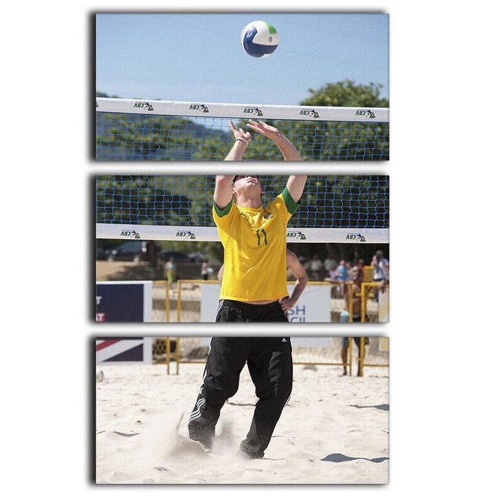 Prince Harry playing volleyball in Rio De Janeiro Brazil 3 Split Panel Canvas Print
