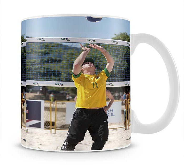 Prince Harry playing volleyball in Rio De Janeiro Brazil Mug