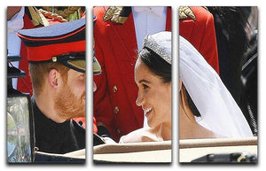 Prince Harry smiles at his new wife Meghan 3 Split Panel Canvas Print - Canvas Art Rocks - 1