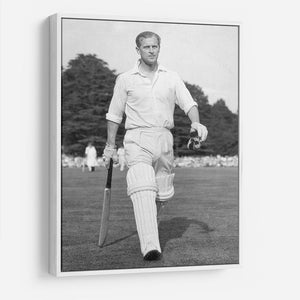 Prince Philip as cricket captain in a charity match HD Metal Print