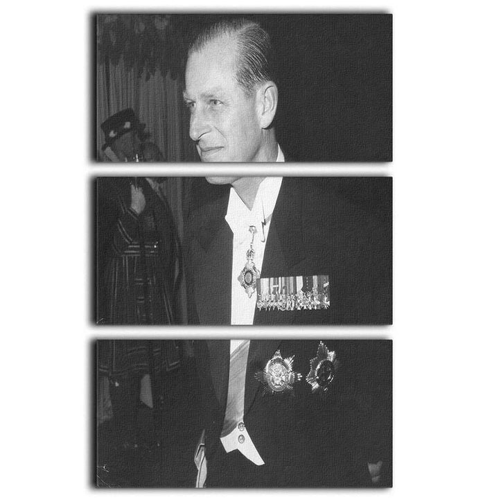 Prince Philip attending the opera at Covent Garden 3 Split Panel Canvas Print