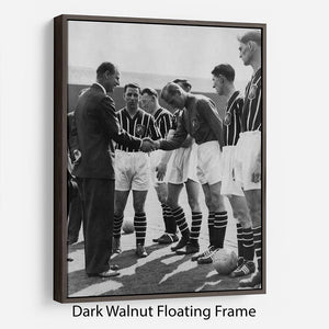 Prince Philip meeting members of Manchester City team Floating Frame Canvas