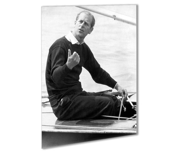 Prince Philip resting after racing at Cowes Isle of Wight Outdoor Metal Print