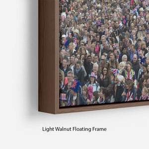 Prince William and Kate crowds for their wedding on The Mall Floating Frame Canvas