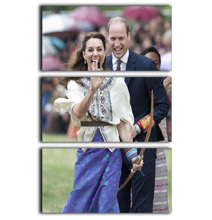 Prince William and Kate laughing trying archery in Bhutan 3 Split Panel Canvas Print