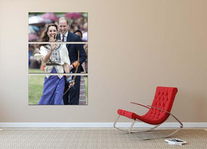 Prince William and Kate laughing trying archery in Bhutan 3 Split Panel Canvas Print - Canvas Art Rocks - 2