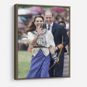 Prince William and Kate laughing trying archery in Bhutan HD Metal Print
