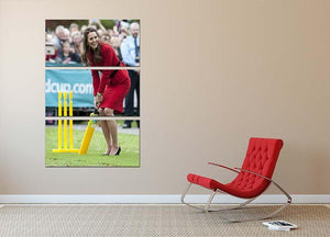 Prince William and Kate playing cricket in New Zealand 3 Split Panel Canvas Print - Canvas Art Rocks - 2