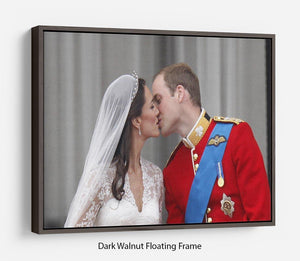 Prince William and Kate sharing a wedding kiss Floating Frame Canvas