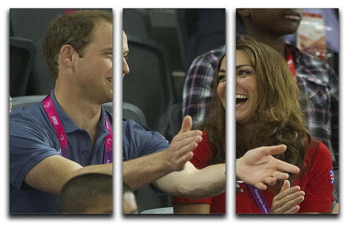 Prince William and Kate watching cycling at the 2012 Olympics 3 Split Panel Canvas Print