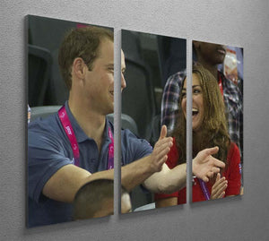 Prince William and Kate watching cycling at the 2012 Olympics 3 Split Panel Canvas Print - Canvas Art Rocks - 2
