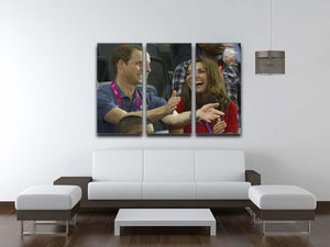 Prince William and Kate watching cycling at the 2012 Olympics 3 Split Panel Canvas Print - Canvas Art Rocks - 3