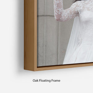 Prince William and Kate waving on their wedding day Floating Frame Canvas