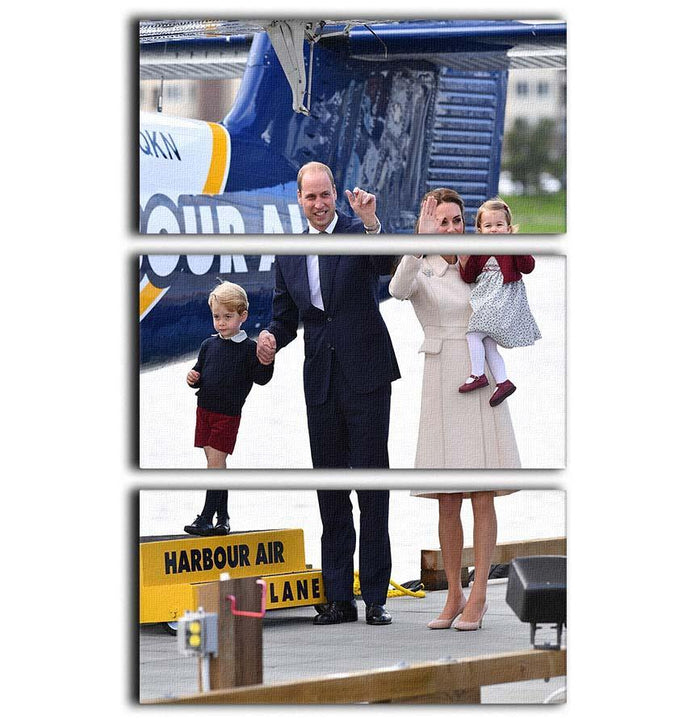 Prince William and Kate with George and Charlotte in Canada 3 Split Panel Canvas Print