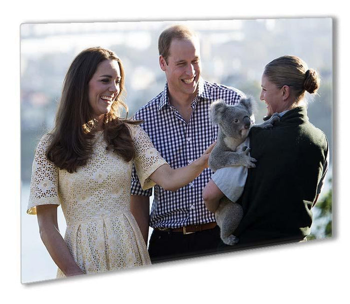 Prince William and Kate with a koala bear in Sydney Australia Outdoor Metal Print