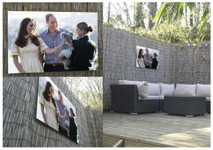 Prince William and Kate with a koala bear in Sydney Australia Outdoor Metal Print - Canvas Art Rocks - 2