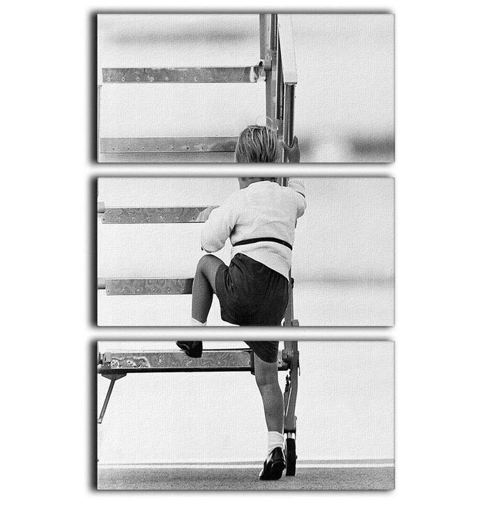 Prince William at Aberdeen Airport climbing stairs 3 Split Panel Canvas Print