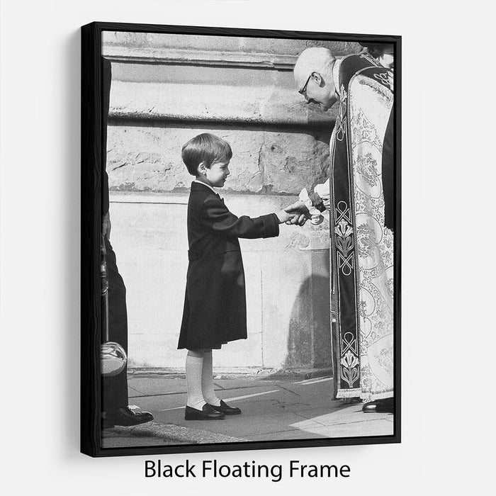 Prince William greeting the Dean of St Georges Chapel Floating Frame Canvas