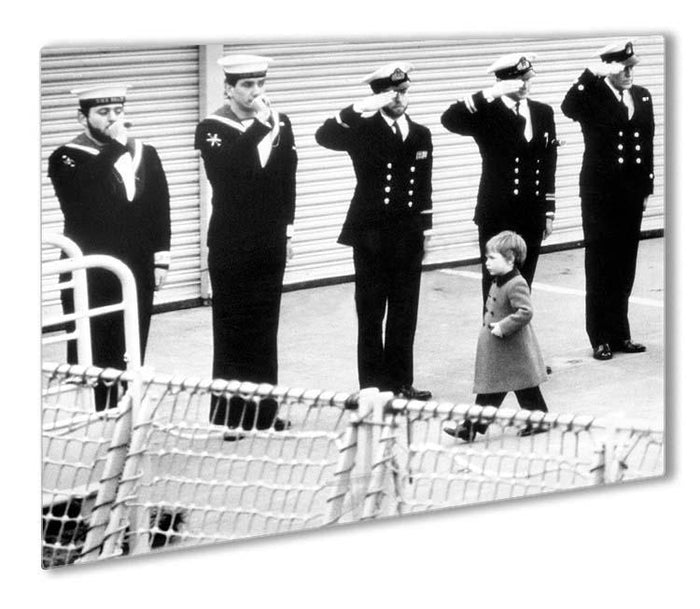 Prince William visiting the Royal Navy as a small child Outdoor Metal Print