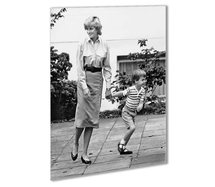 Prince William with Princess Diana dropping Harry at school Outdoor Metal Print