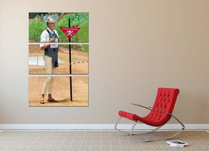 Princes Diana at a mine field in Angola for a Red Cross visit 3 Split Panel Canvas Print - Canvas Art Rocks - 2