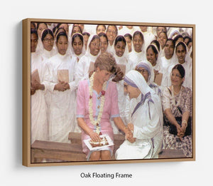 Princes Diana with Mother Theresa in Calcutta India Floating Frame Canvas
