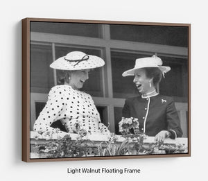 Princess Diana and Princess Anne sharing a laugh at the races Floating Frame Canvas