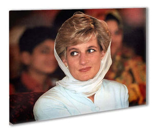 Princess Diana in Lahore wearing a white headscarf Outdoor Metal Print - Canvas Art Rocks - 1
