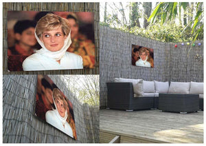 Princess Diana in Lahore wearing a white headscarf Outdoor Metal Print - Canvas Art Rocks - 2