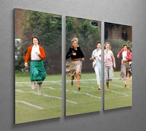 Princess Diana in the mothers race at Harrys school 3 Split Panel Canvas Print - Canvas Art Rocks - 2