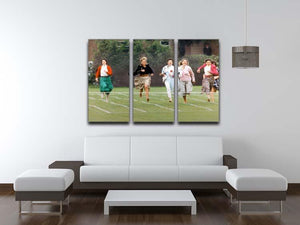 Princess Diana in the mothers race at Harrys school 3 Split Panel Canvas Print - Canvas Art Rocks - 3
