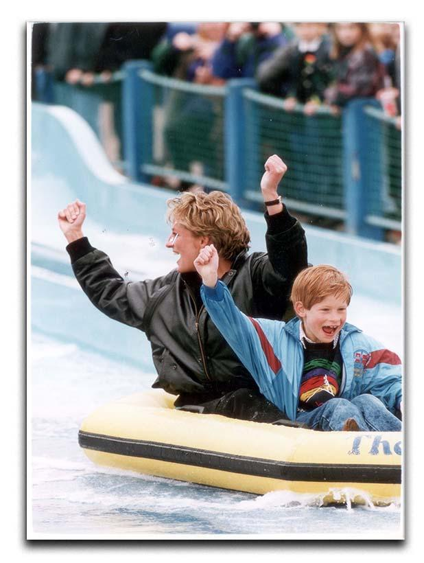 Princess Diana with Prince Harry on a water ride Canvas Print or Poster