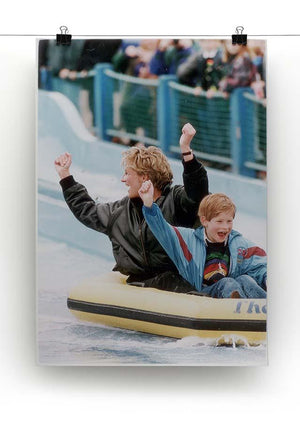 Princess Diana with Prince Harry on a water ride Canvas Print or Poster - Canvas Art Rocks - 2