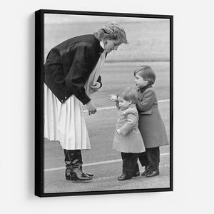Princess Diana with little Prince Harry and Prince William HD Metal Print