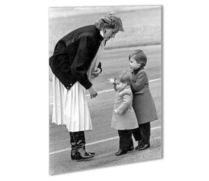 Princess Diana with little Prince Harry and Prince William Outdoor Metal Print - Canvas Art Rocks - 1