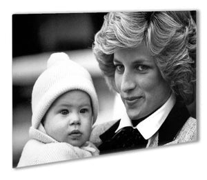 Princess Diana with six month old Prince Harry Outdoor Metal Print - Canvas Art Rocks - 1