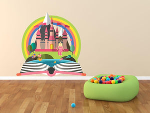 Princess Rainbow Castle Wall Sticker - Canvas Art Rocks - 1