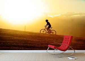 Profile silhouette of sport man cycling Wall Mural Wallpaper - Canvas Art Rocks - 2