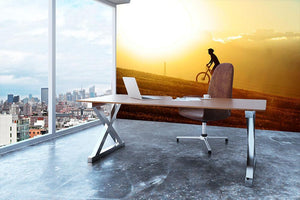 Profile silhouette of sport man cycling Wall Mural Wallpaper - Canvas Art Rocks - 3