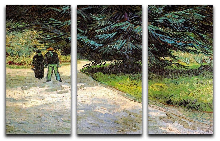 Public Garden with Couple and Blue Fir Tree The Poet s Garden III by Van Gogh 3 Split Panel Canvas Print