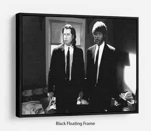 Pulp Fiction Black and White Floating Frame Canvas