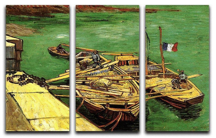 Quay with Men Unloading Sand Barges by Van Gogh 3 Split Panel Canvas Print