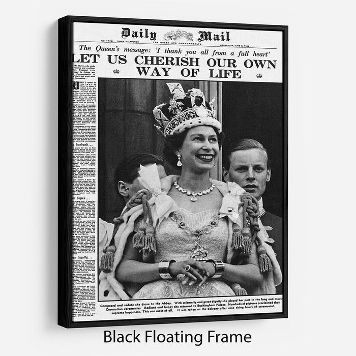 Queen Elizabeth II Coronation Daily Mail front page 3 June 1953 Floating Frame Canvas