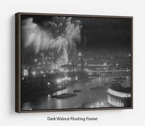 Queen Elizabeth II Coronation evening fireworks on the Thames Floating Frame Canvas