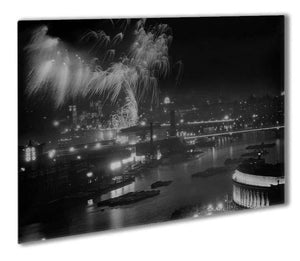 Queen Elizabeth II Coronation evening fireworks on the Thames Outdoor Metal Print - Canvas Art Rocks - 1