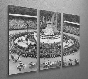 Queen Elizabeth II Coronation leaving Buckingham Palace 3 Split Panel Canvas Print - Canvas Art Rocks - 2