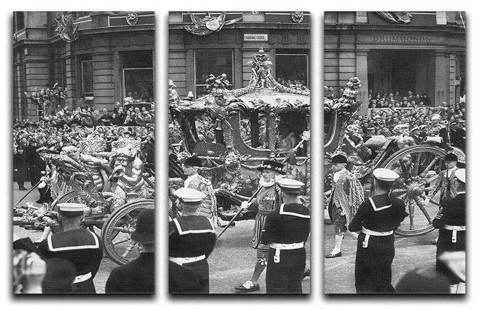 Queen Elizabeth II Coronation procession at Charing Cross 3 Split Panel Canvas Print