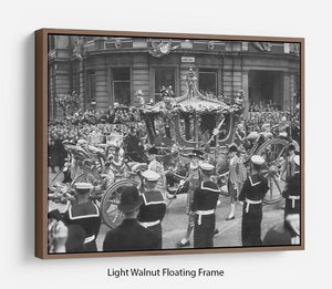 Queen Elizabeth II Coronation procession at Charing Cross Floating Frame Canvas
