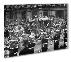 Queen Elizabeth II Coronation procession at Charing Cross Outdoor Metal Print - Canvas Art Rocks - 1